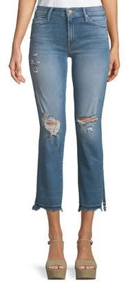 Mother Rascal Snippet Chew Straight-Leg Ankle Jeans
