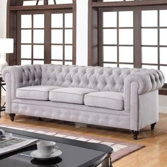 Willa Arlo Interiors Elina Classic Tufted Linen Fabric Chesterfield Sofa