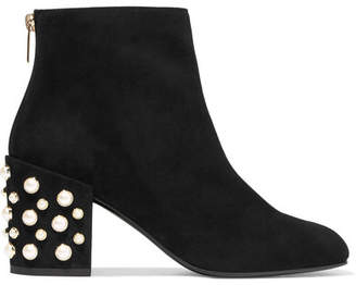 Stuart Weitzman - Pearlbacari Embellished Suede Ankle Boots - Black $575 thestylecure.com