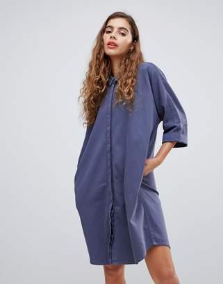 Monki denim shirt dress with organic cotton im mid blue