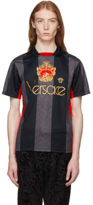 Versace Black Stripe Logo Football Jersey