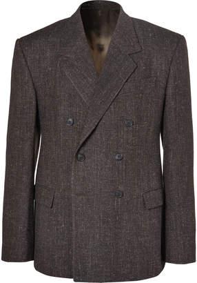 Balenciaga Brown Double-Breasted Wool-Blend Tweed Blazer