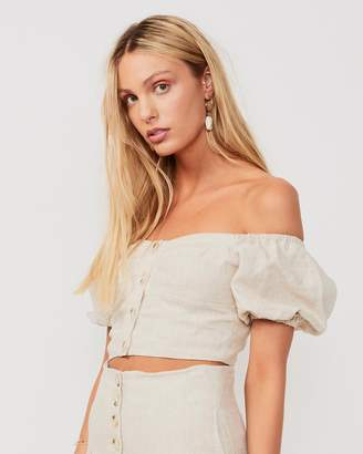 SUBOO Button Front Crop Top