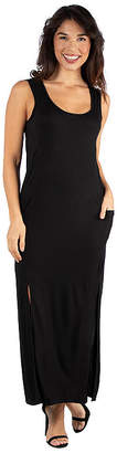 24/7 Comfort Apparel Sleeveless Black Maxi Dress With Slits
