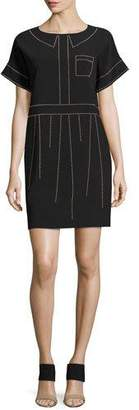 Moschino Short-Sleeve Studded Crepe Shift Dress