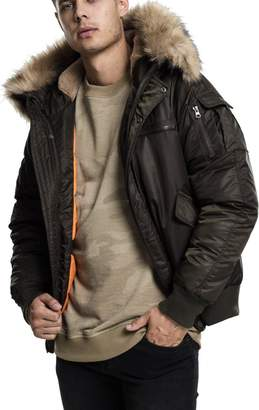 Urban Classics Hooded Heavy Bomber Fur Winter Jacket - XL