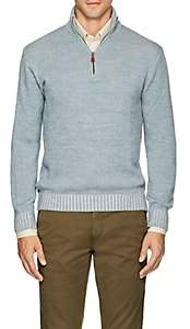Inis Meain Men's Mélange Alpaca-Silk Quarter-Zip Sweater - Lt. Blue