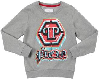 Philipp Plein Junior Logo Printed Cotton Sweatshirt