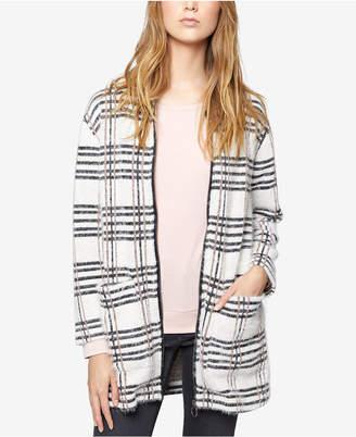 Sanctuary Metallic Plaid Sweater Coat