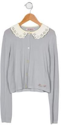 Miss Blumarine Girls' Peter Pan Collar Knit Cardigan