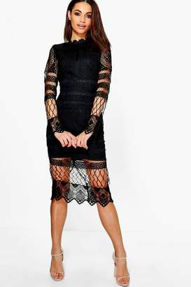 boohoo Boutique Lace Panelled Midi Dress