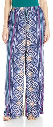 Buffalo David Bitton Women's Lily Printed Wide Leg Palazzo Pull On Pant $23.38 thestylecure.com