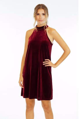 Veronica M Burgundy Velvet Dress