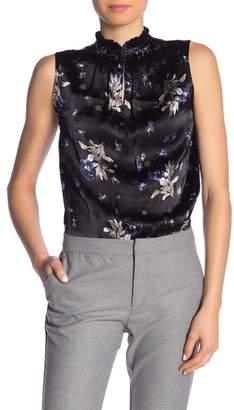 Rebecca Taylor Sleeveless Floral Star Burnout Mock Neck Tank Top
