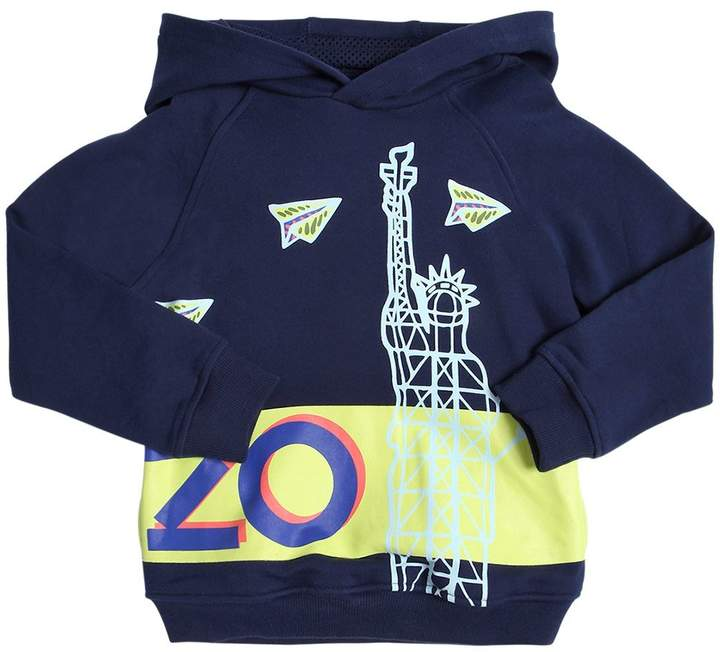 Hooded Nyc Logo Print Cotton Sweatshirt