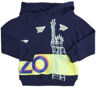 Kenzo Hooded Nyc Logo Print Cotton Sweatshirt