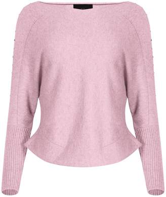 NY CHARISMA - Pink V Neck Sweater With Studs