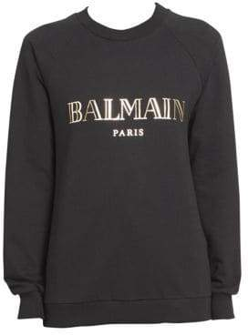 Balmain Women's Long Sleeve Logo Sweatshirt - Black - Size 46 (14)