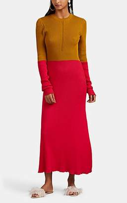 Cédric Charlier Women's Colorblocked Cotton Sweaterdress - Yellow