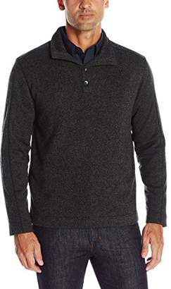 Van Heusen Men's Solid Button Mock Sweater Fleece