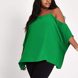 River Island Plus green cold shoulder cape sleeve top