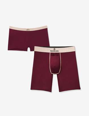 Tommy John His & Hers Second Skin Second Skin Boxer Brief and Boyshort, Tawny Port Rose Gold Pack
