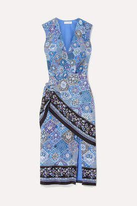 Altuzarra Sade Wrap-effect Printed Silk Crepe De Chine Dress - Blue