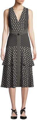 Proenza Schouler V-Neck Sleeveless Mixed-Print A-Line Midi Dress