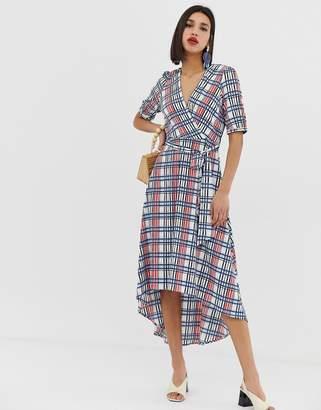 Vero Moda textured check wrap dress with volume sleeve