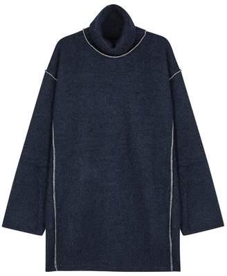 Maison Margiela Dark Blue Metallic-knit Jumper Dress