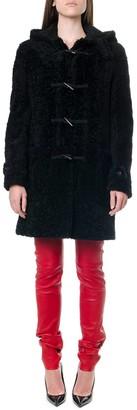 Saint Laurent Montgomery Hooded Black Shearling Coat