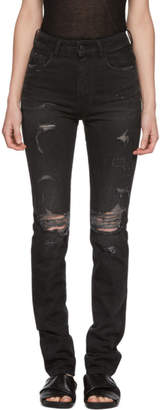 Marcelo Burlon County of Milan Black Embroidered Wing Slim Jeans