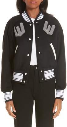 Off-White Crop Varsity Jacket