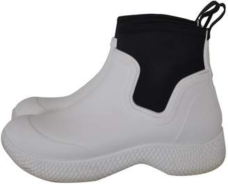 Celine White Rubber Ankle boots