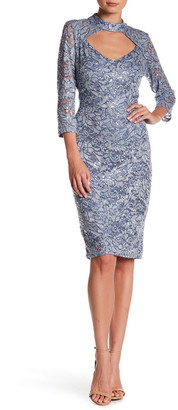 Marina Embellished Lace Mock Neck Dress $129 thestylecure.com