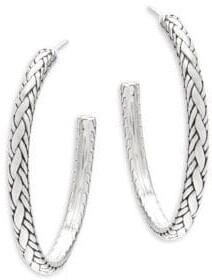 "John Hardy Textured Sterling Silver Hoop Earrings/2"""