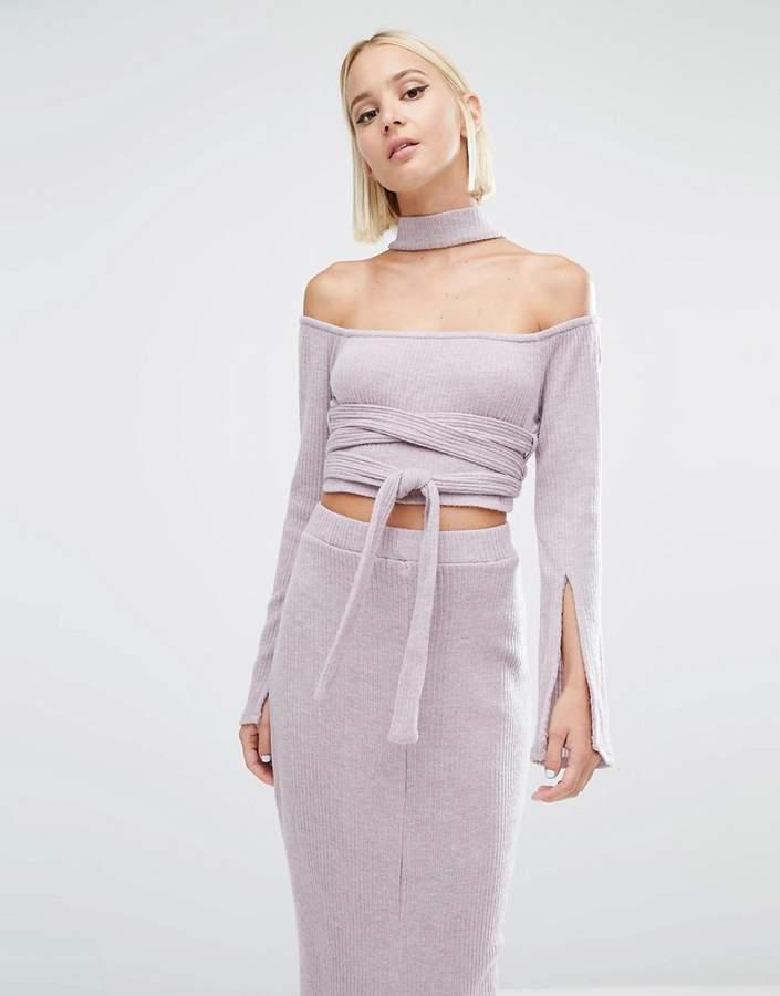 Lavish Alice Rib Knit High Neck Wrap Around Belt Crop Top