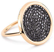ginette_ny Ever 18k Rose Gold Black Diamond Disc Ring, Size 7