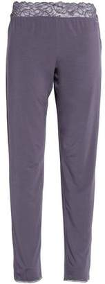 Calvin Klein Lace-Trimmed Jersey Pajama Pants