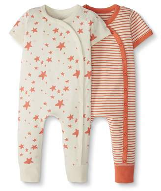 Hanna Andersson Moon And Back By Moon and Back by Baby 2-Pack One-Piece Organic Cotton Short Sleeve Romper