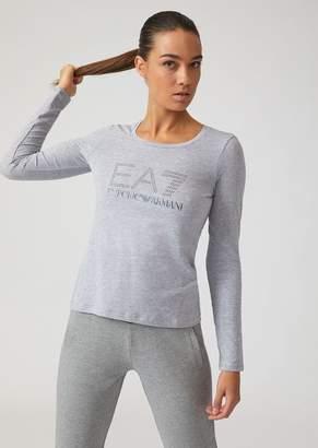 Emporio Armani Long-Sleeve T-Shirt With Ea7 Rhinestone Logo