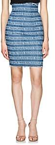 Balmain Women's Logo-Striped Denim Skirt - Blue