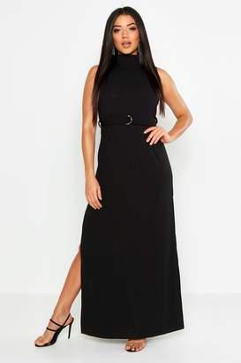 boohoo Rib Belted High Neck Double Split Maxi Dress