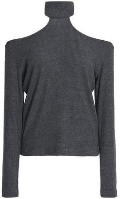 LnA Franklin Cutout Mélange Ribbed-Knit Sweater