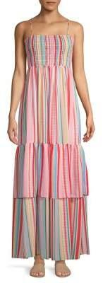 BB Dakota Striped Tiered Hem Maxi Dress