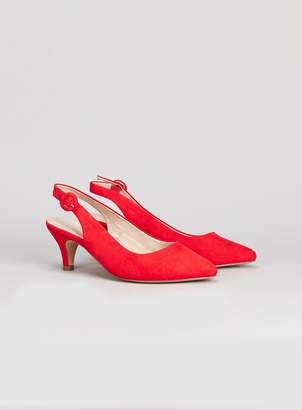 7cf1f7a692c Evans WIDE FIT Red Slingback kitten Heel Court Shoes