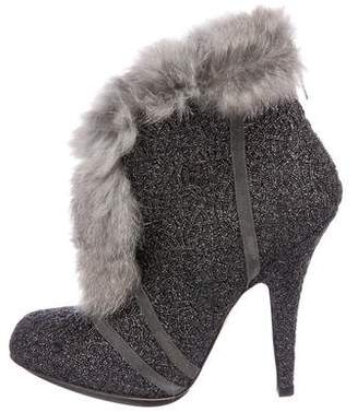 Christian Dior Fur-Trim Ankle Boots