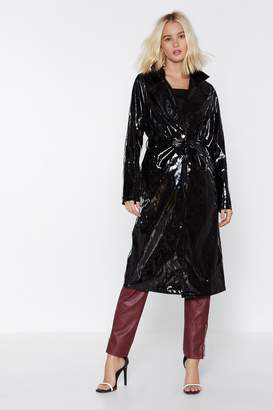 Nasty Gal Have the Vinyl Say Trench Coat