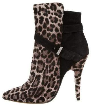 Tabitha Simmons Leopard Printed Ponyhair Ankle Boots
