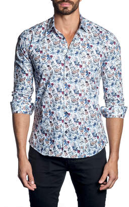 Jared Lang Men's Floral-Print Long-Sleeve Button-Down Shirt